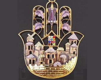 Hamsa wall hanging , decorated with enamel