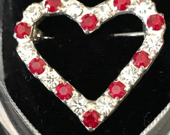 1980 CZ Red & Clear Heart Pin/Brooch with Ring Box - Never worn