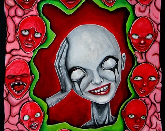 Voices - original - acrylic painting - 10x12 board - lowbrow art - popsurrealism - home decor - red - green - faces - madness - surrealism