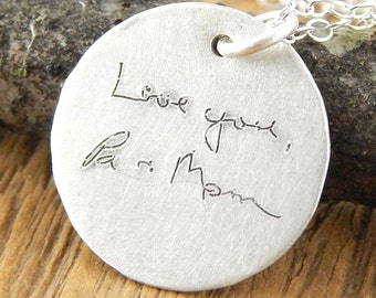 Signature jewelry, handwriting necklace, memorial jewelry, handwritten signature, personalized with loved ones handwriting.
