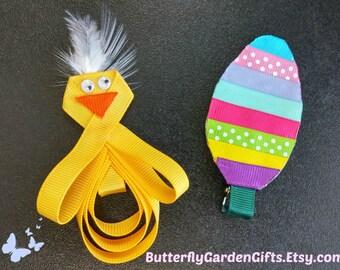 Easter hair clips, chick hair clip, egg hair clip