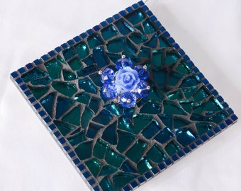 Merry Mosaic Ornament TQM34// Diamond Mirror Ornament w Bluish Green Stained Glass Metallic Blue Square Beads and Beaded Blue Rose Bauble