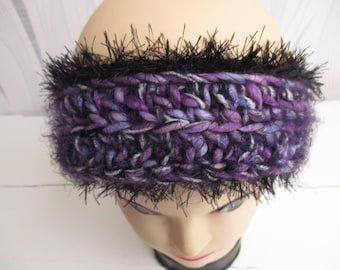 woman crochet wool headband, greenhouse Purple Purple Purple Purple ear warmer, wool headband, mothers day gift