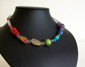 Seven Chakra Necklace with mixed gems and Rock Crystal healing Yoga Jewelry - Chakra Jewelry healing