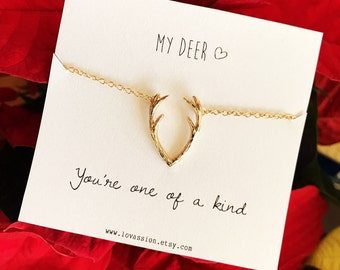 Antler Necklace, gold Antler Necklace, silver antler necklace, deer necklace, gold deer necklace, reindeer necklace, meaningful gifts