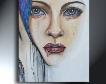 Sad Crying Woman's Face Original Artwork Size 16 x 20 On Canvas Hurtful Words