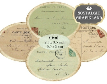 Ephemera Postcards French Carte Postale Poste Ovals 3.5 x 2.5 inch Instant Download digital collage sheet O103