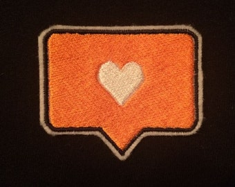 Instagram Like/dislike Embroidered Iron-on Patch -specify choice