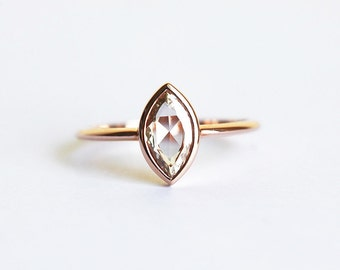 Rose Gold Diamond Engagement Ring, Champagne Diamond Ring, Rose Cut Diamond Ring, 14k Solid gold