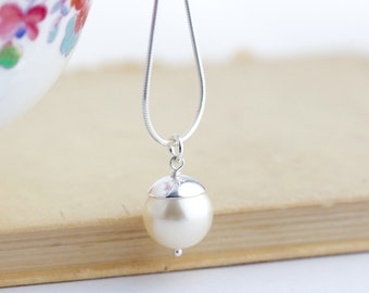 Sterling Silver Necklace - Ivory Pearl Pendant Necklace - Pearl Necklace - Simple Pendant Necklace - Pearl Pendant - Gift For Her