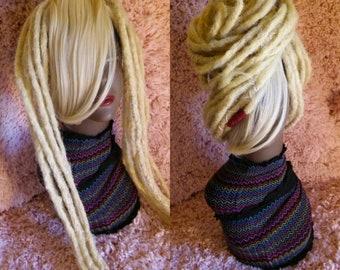 Platinum blonde clip in dreadlock bang partial wig / Platinum blonde dreadlock weft / clip in platinum bleach blonde clipin dreadlock bang