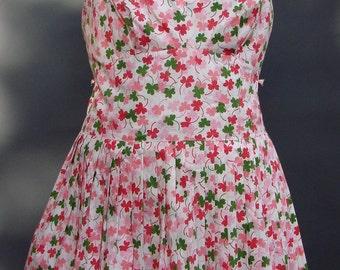 Vintage 1950s/50s Saks Fifth Avenue Cotton SWIMSUIT/SUNDRESS Bathing Costume Pin Up Union Label