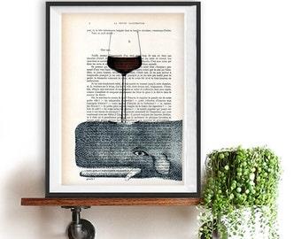 Nautical Whale Print, Whale Art, Whale Artwork, Whale Art Print, Gift for Him, Office Wall Art, Wall Decor, Home Decor, Ocean,Wine Glass Art