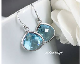 Bridesmaid Gift Aquamarine Earrings Aqua Jewelry Maid of Honor Gift Mother of Groom Gift Mother of Bride Gift for Her Wedding