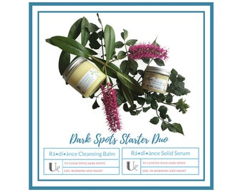 Dark Spots Starter Duo - Rá•dî•ànce, Cleansing Balm, Natural Skin Care, Face Serum, Spa Kit, Dark Spot Treatment, Spa Gifts, Face Balm
