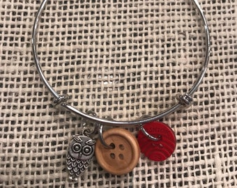 Button bangle with owl charm!