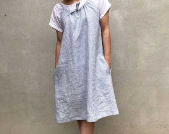 Simple Linen Dress with drawstring neckline, Sleeveless Midi Dress, Pinafore Dress, Linen Midi Dress, Linen Dress Women, Loose Adjustable