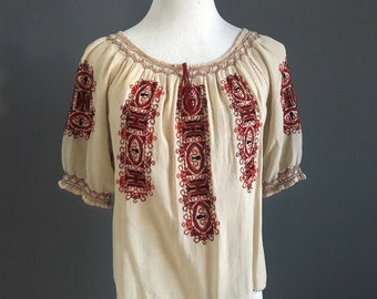 1920s embroidered blouse, 1920s silk blouse, 1920s handwork blouse, 1920s romanian blouse, silk crepe blouse, medium size, vintage silk