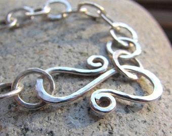 Textured Silver Circles Bracelet - hammered silver link bracelet - adjustable bracelet
