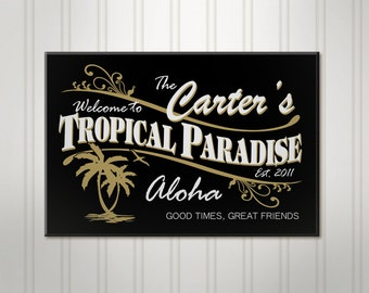 "Large Personalized Tiki Bar Sign, ManCave Pub Sign, Beer Sign, Personalized Sign, Personalized Man Cave Bar Decor, 18"" x 24"""