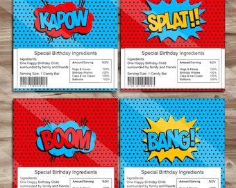 Superhero Birthday Candy Bar Wrappers, Thank You Tags Chocolate Bar, Superhero Avengers Party Supplies - Digital JPG Files, INSTANT DOWNLOAD