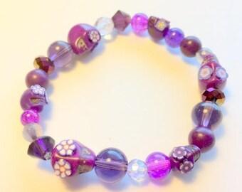 Purple Sugar Skull Bracelet Day of the Dead Sugar Skull Stretchy Bracelet