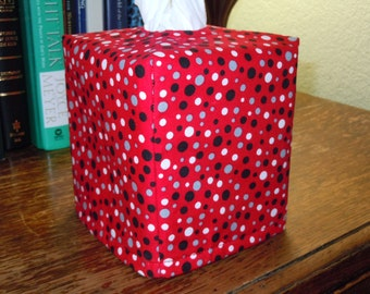Ready To Ship - Red with Black White and Grey Dots - Tissue Box Cover