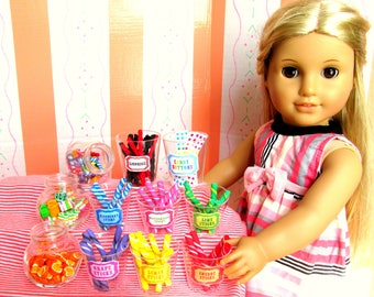 """American Food 18"""" Girl Doll Food Candy Sticks 18 Inch Doll Candy Shop Doll Accessories (6 Jars in 6 fruit flavors)"""