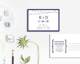 Tandem Bike Save the Date, Wedding Save the Date, Save the dates, Save the date, Bike Wedding, Hipster Wedding, Modern Wedding Invitations