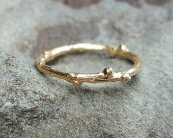 Gold Twig Ring, Twig Ring, Twig Wedding Band, 14K Gold Band, Womens Ring, Twig Ring Gold, Wedding Band Women, Thin Gold Band, 14K Gold RIng
