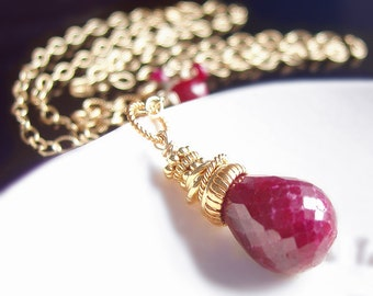 CUSTOM Made to Order - Natural Red Ruby Necklace
