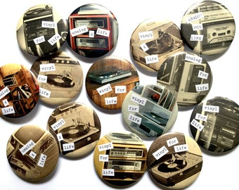 """Vinyl & Analog Lovers One of a Kind 2 1/4"""" Pins - Cassette - Mixtape - Record - Music - Old School - Pinback - Button - Badge"""