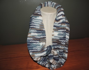Infinity scarf, Variegated Blues, white and browns.