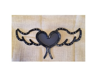 Horseshoe Heart,Picture Frame,Horseshoe Art,Western Decor, Rustic Decor,Horseshoe Wings, bereavement gift, Wall Decor,Redeemed Metalworks