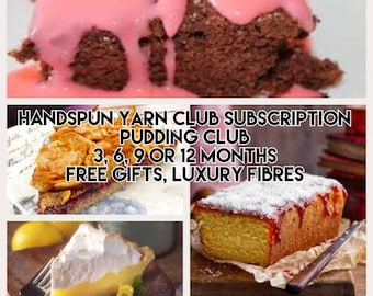Handspun yarn club subscription / pudding club / 3, 6, 9 or 12 months / gift wrapped / mystery gifts / merino / silk / sparkle / exclusive