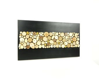Abstract painting modern wooden Scandinavian, wooden wall panel with slices of wood modern Scandinavian wall sculpture