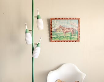 RESERVED for katbut // Vintage Mid Century Tension Pole Lamp in Seafoam Green