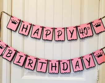 Princess crown Happy Birthday banner, black, pink with age