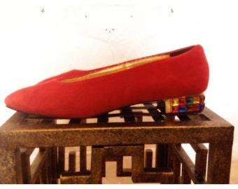 90's Red Suede Jeweled Block Heels 7.5/low heel/Pointed Toe