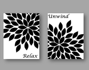 Bathroom art prints black and white home is best place to return set of four 8x10 art prints black white abstract gerbera daisies flower art soak relax unwind mightylinksfo