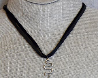 Blackened Sterling Silver and Pave Diamond Snake on Leather Cord