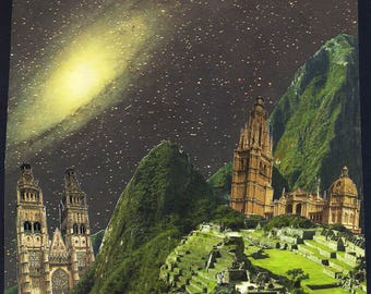 Original Collage. Machu Picchu, cathedrals and Galaxy. Cut and paste.