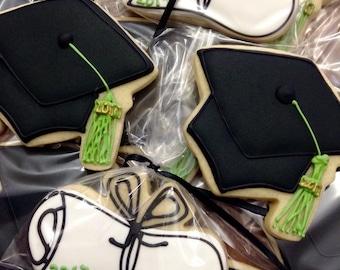 Graduation Cookies Cap n Scroll (12) Custom Made to Order