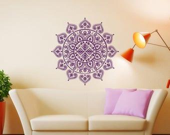 Mandala Wall Decal Mehndi Decor - Mandala Lotus Flower Decal Boho Bohemian Bedroom - Mandala Decals Yoga Studio Meditation Room Decor 173