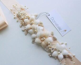 Bridal Belt - Wedding belt- Wedding sash-  Bridal Sash -Wedding dress belts and sashes - Hand Beaded Vintage style Ivory Champagne -PATRICIA
