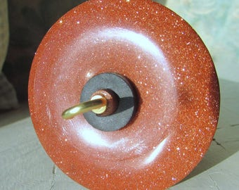 Brown Goldstone Stone Drop Spindle 1.02 ounces 29 grams Poplar Shaft