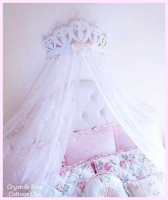 Bed Crown Canopy Crib Crown Nursery Design Wall Decor: Shabby Rose Princess Heart Bed Crown Canopy...Color Choices
