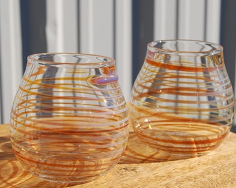 Pair of handblown stemless wine glasses with lines