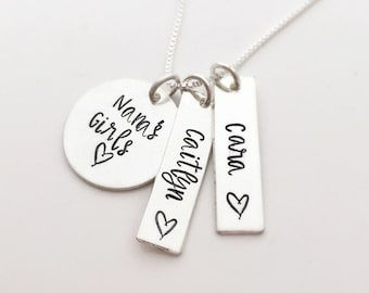 Mother's Day Gift for Nana - Nana's Girls - Grandmother and Granddaughter - Sterling Silver Name Necklace - Personalized Gift for Nana