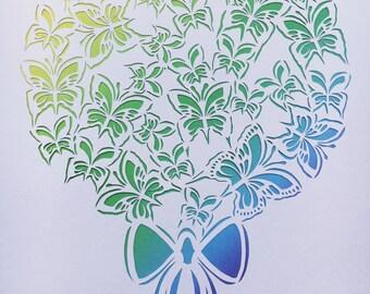 Paper cut butterfly bouquet, handmade, unframed.